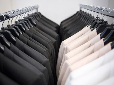 suits on a rack